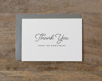5 x Thank you from the Newlyweds - Wedding Thank You Card - Newlyweds Wedding Card, Wedding Thank You Cards, Wedding Guest Thank You, K1