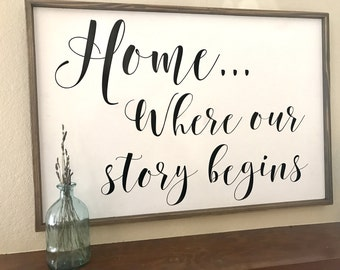 Home Where Our Story Begins Sign Wood Sign Home Sign