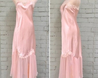 Vintage full length pink satin nightgown / spaghetti strap nightie / pale pink satin and lace negligee / size small