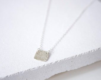 Handmade Square Stamp Pattern Sterling Silver Necklace, Ready to Ship