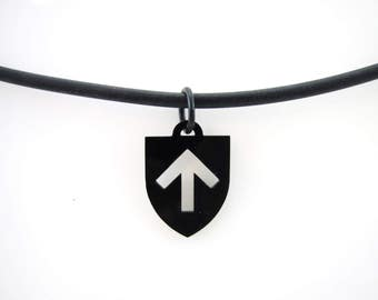 Black Acrylic Male Dominant Ownership Icon Pendant on Silicone Rubber Cord Necklace