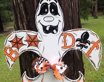 Halloween, Ghost, Fleur de lis, Boo Dat, Boo, Trick or Treat, Door Hanger, Door Wreath