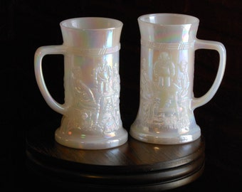 Federal Glass Lustreware Vintage Glass Steins