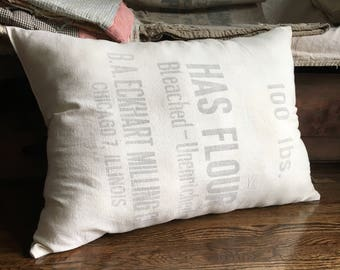 Vintage grain sack pillow/ HAS FLOUR/ Chicago, Illinois farmhouse pillow/ early 1900's seed sack/ country/ antique/primitive