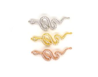 Sterling Silver CZ Snake Bracelet Part Only