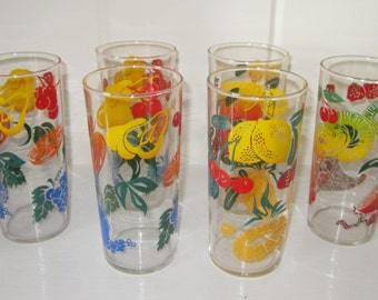 Set of 6 Retro Bright and Cheery FEDERAL Fruit Glass Tumblers