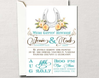 Country Western Lucky in Love Horseshoe DIY Printable Wedding Invitation Suite