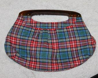 Vintage Bakelite Handle Clutch Bag, Flannel Plaid Fabric Body, Soft, Medium Clutch, Great For Everyday, Nice Fashion, Accessory, Snaps Shut