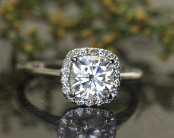Cushion Cut Forever One Moissanite Engagement Ring, Cushion Shape Diamond Halo, 7x7mm/1.66ct Center Stone, Fit Flush Design, Courtney D