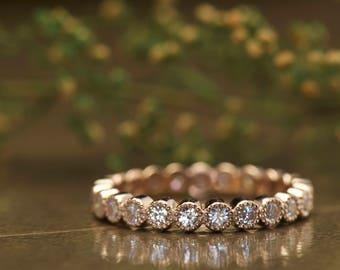 Bezel Set Moissanite  Wedding Band in Rose Gold, Round Brilliant Cut Bezel Set Moissanite with milgrain Eternity, Stackable, Cadence M