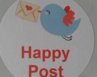 Happy post stickers, happy post, happy mail, stickers, kawaii stickers, envelope seals, kawaii bird, mailing stickers, uk seller, birds