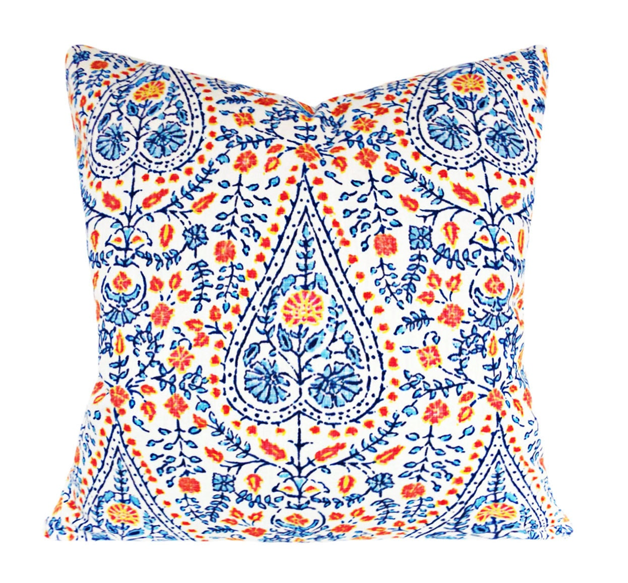John Robshaw Fabrics: John Robshaw Blue Floral Fabric For Pillow Covers By