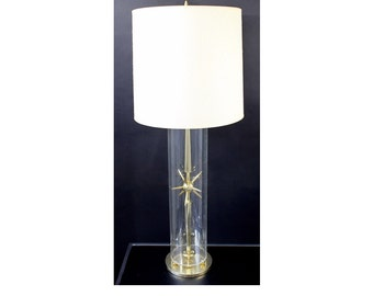 Mid Century Modern Sputnik Atomic Glass & Brass Table Lamp by Mutual Sunset Co.