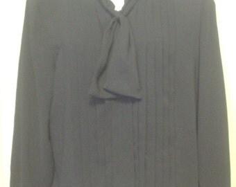 VTG Modern Classic Dimensions Black Semi-Sheer Long Sleeve Knife Pleat Self-Tie Scarf Blouse Shirt Top Sz 18W Plus Secretary Style EC BIN