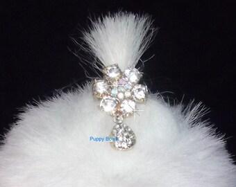 Puppy Bows ~ Rhinestone crystal 6 petal flower dangle barrette~ US Seller