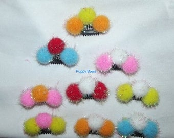 "Puppy Bows ~ Multi color SMALL pom pom NEW type comb snap clips 1"" lightweight"