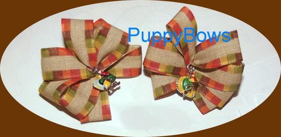 Puppy Bows ~ One Turkey charm Thanksgiving dog hair bow orange brown yellow