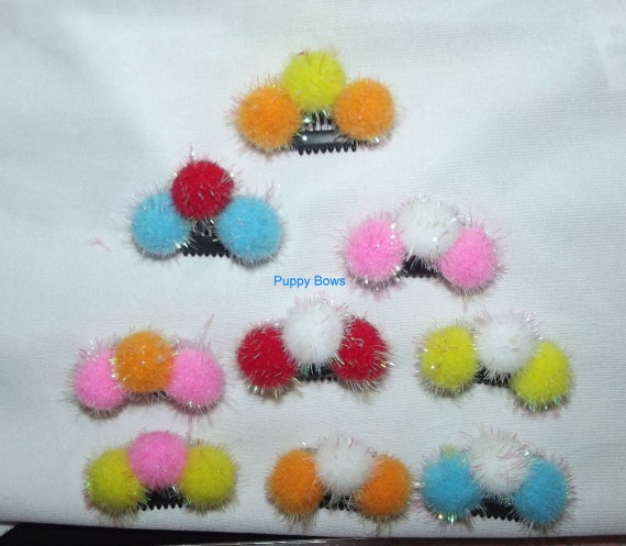 """Puppy Bows ~ Multi color SMALL pom pom NEW type comb snap clips 1"""" lightweight  (fb35)"""