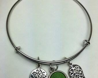 Nature charm bangle bracelet
