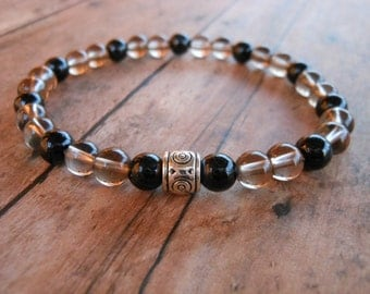 Smoky Quartz Mala Bracelet, Black Tourmaline, Protection Bracelet, Mala Bracelet, Yoga, Buddhist, Meditation, Prayer Beads