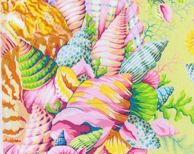 Featured listing image: SHELL BOUQUET Yellow PWPJ088 Philip Jacobs for Kaffe Fassett Collective Sold in 1/2 yd increments