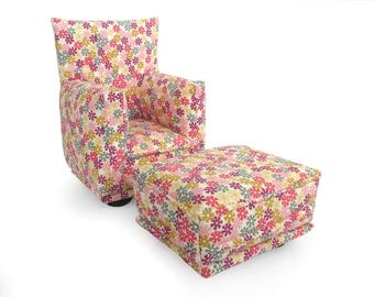 Barbie Doll Living Room Chair & Ottoman-Pink, Purple tiny flower print-1:6 Scale- works with any Blythe and 11 inch fashion doll