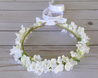 Lily of the Valley Flower Crown, White Flower Crown, Flower Girl White Flower Crown, Child Bridal Lily Flower Crown, Boho Flower Girl