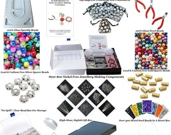 New! Deluxe Adult Jewellery Making Starter Kit ~Make Your Own Jewellery In Minutes! Over 1,000 Beads & Findings, Bead Board,Pliers and More
