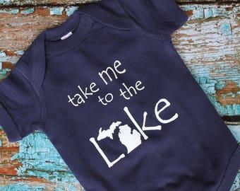 Michigan Baby Gifts, Michigan Baby Onesie, Infant Clothing, New Baby, Baby Shower Gift,  Lake Michigan Gift!