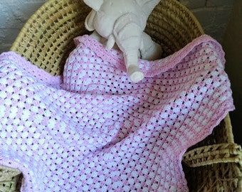 Handmade Crochet Bamboo and Cotton Baby Blanket ~ 25 x 25