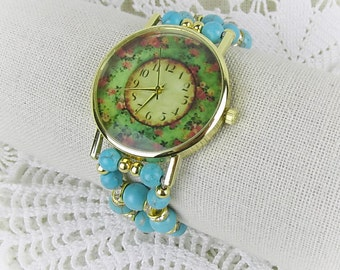 Retro wristwatch quartz watch bracelet Womens watch stretch Howlite beads turquoise Crystal Rondelles