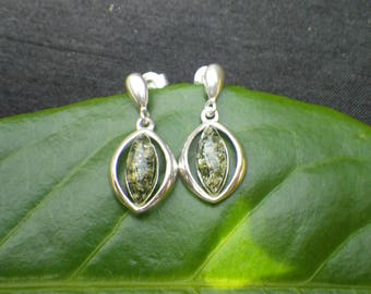 Sterling Silver Pressed Faux Amber Teardrop Drop Earrings