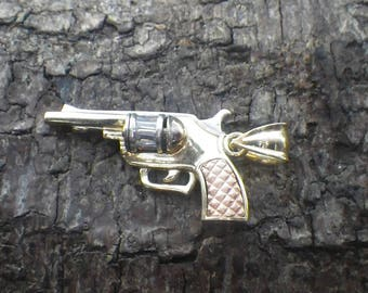 Beautiful 10k Yellow Rose and White Gold CZ Revolver Pistol Gun Charm Pendant