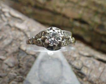 Art Deco 18ct Gold and Platinum Diamond Solitaire Engagement Ring