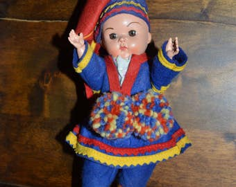 Antique Lapland souvenir doll. Doll from 50's- . Lapland doll.  Dollytex doll. Finland