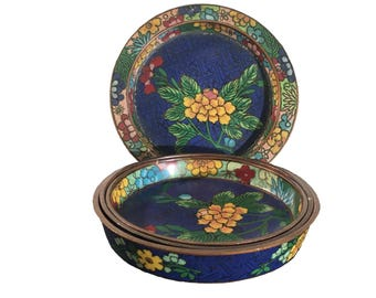 Cloisonne' Nesting Soy Sauce Containers (set of 4)