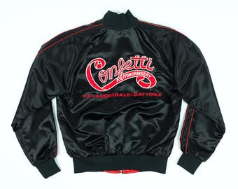 Confetti Bomber Jacket L - Vintage Black Satin Jacket L - 80s Black Varsity Jacket L - Daytona Jacket L - Gregg Jacket L - Ft Lauderdale L