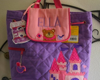 Personalised/ Stephen Joseph Quilted Backpack/ Castle/Children and Toddler Backpack/Rucksack/Nursery Bag/Nappy Bag/ +FREE Keyring