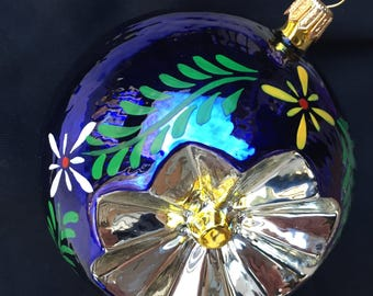 "Sale Christmas Ball St Nicholas Hand Blown Glass Ornament Cobalt Silver Lotus Blossom Krakow Poland 3/4"" Dia. Never Used"