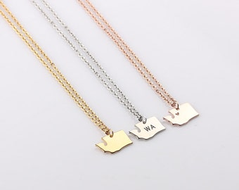 Dainty Washington Necklace - Washington State Necklace - Home State Necklace - State Necklaces - Christmas Gift, Gift for her