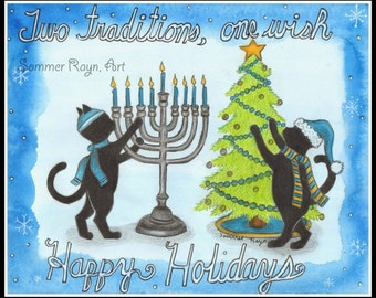 Two Traditions, Christmas & Hanukkah, Holiday Cats, Festival of Lights,  drawing with watercolor print or card, Shadow Kitties, Item 0497a