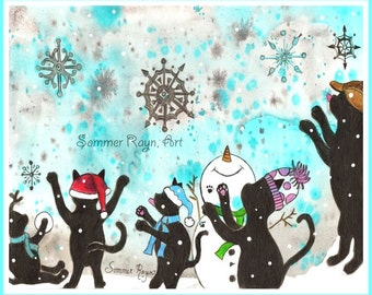 Snowflakes are falling, kitties in the winter, Christmas or holiday Card or Print -  Watercolor, Item #0364a