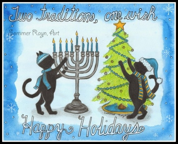 Two Traditions, Christmas & Hanukkah, Holiday Cats, Festival of Lights,  watercolor print or card, Shadow Kitties, Item 0497a