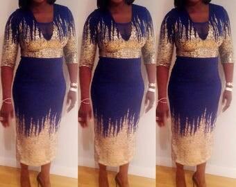 Blue & Gold Lace Midi Dress