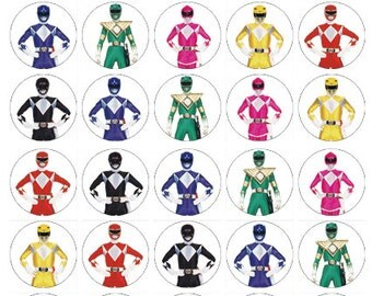 Power Rangers edible wafer paper cake toppers birthday decorations x 30