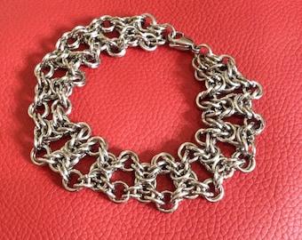 Stainless Steel Chainmaille Bracelet - Unisex Chunky Bracelet - X Pattern Bracelet