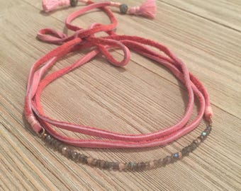 Pink deeskin lace leather choker necklace~labradorite beads~pink cubic zirconia beads~accent end tassels