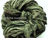 Turtle Moss, Fair Trade, 5 Yards, Sari Silk, Textile Fiber, Knitting Yarn, Art Yarn, Ribbon, Silk Fabric, Green Silk, Artwear Elements, 147