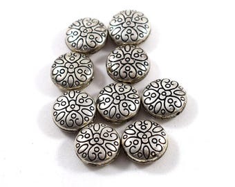 9 Round Puffy Flower Beads, Metal Beads, Silver Beads, Puffy Beads, 16 mm beads, Flower Beads