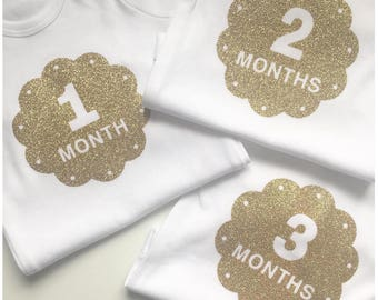 Set of 12 Baby Milestone Vests/Bodysuits Long or Short Sleeved, Glitter or Monochrome